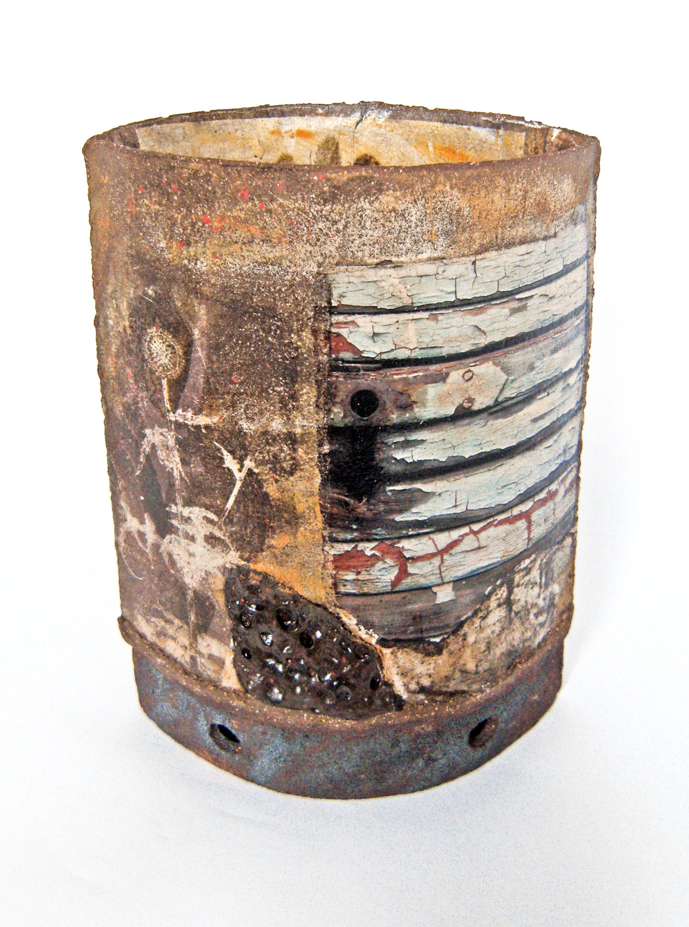 Flaked Wood Collage Pot